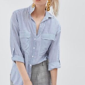 Zara striped flowy button up blouse